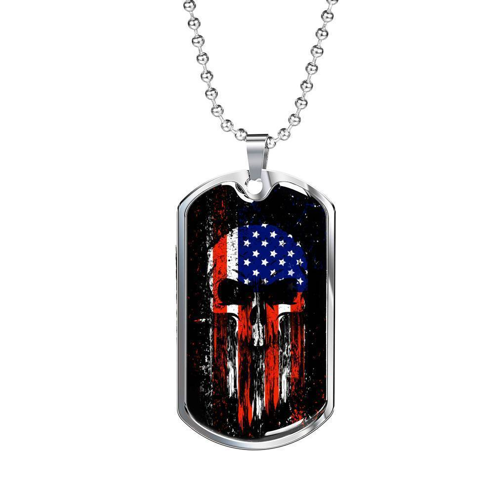 Express Your Love Gifts US Flag Skull Patriotic Dog Tag Pendant Necklace