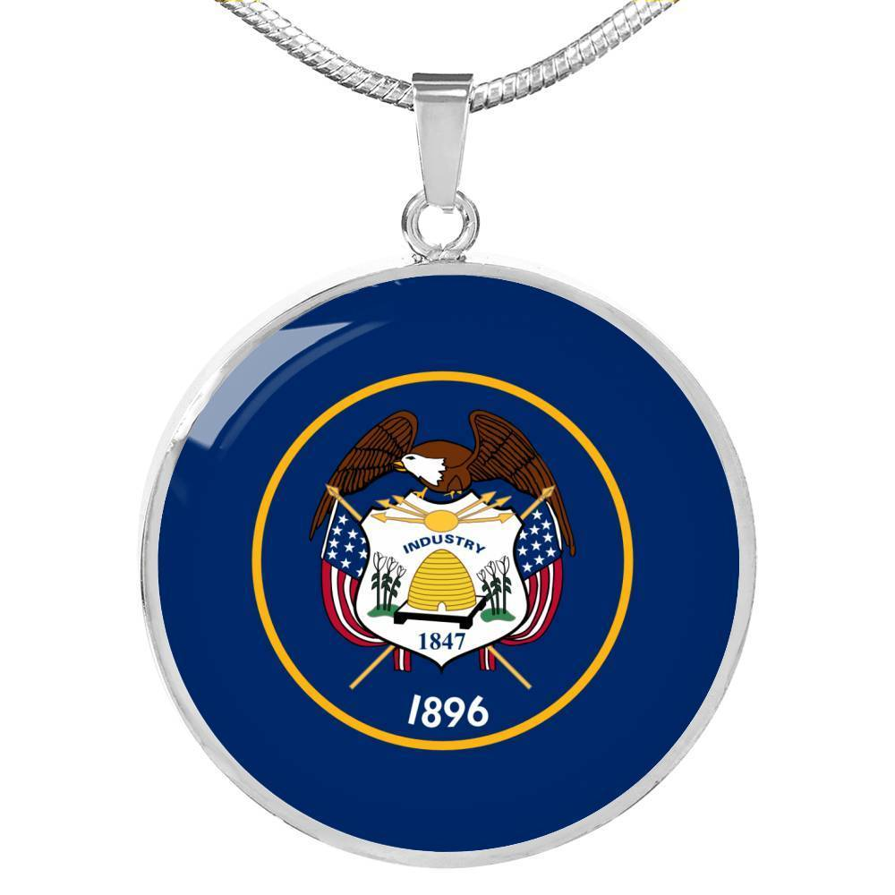 "Utah State Flag Necklace Stainless Steel or 18k Gold Circle Pendant 18-22"" - Express Your Love Gifts"