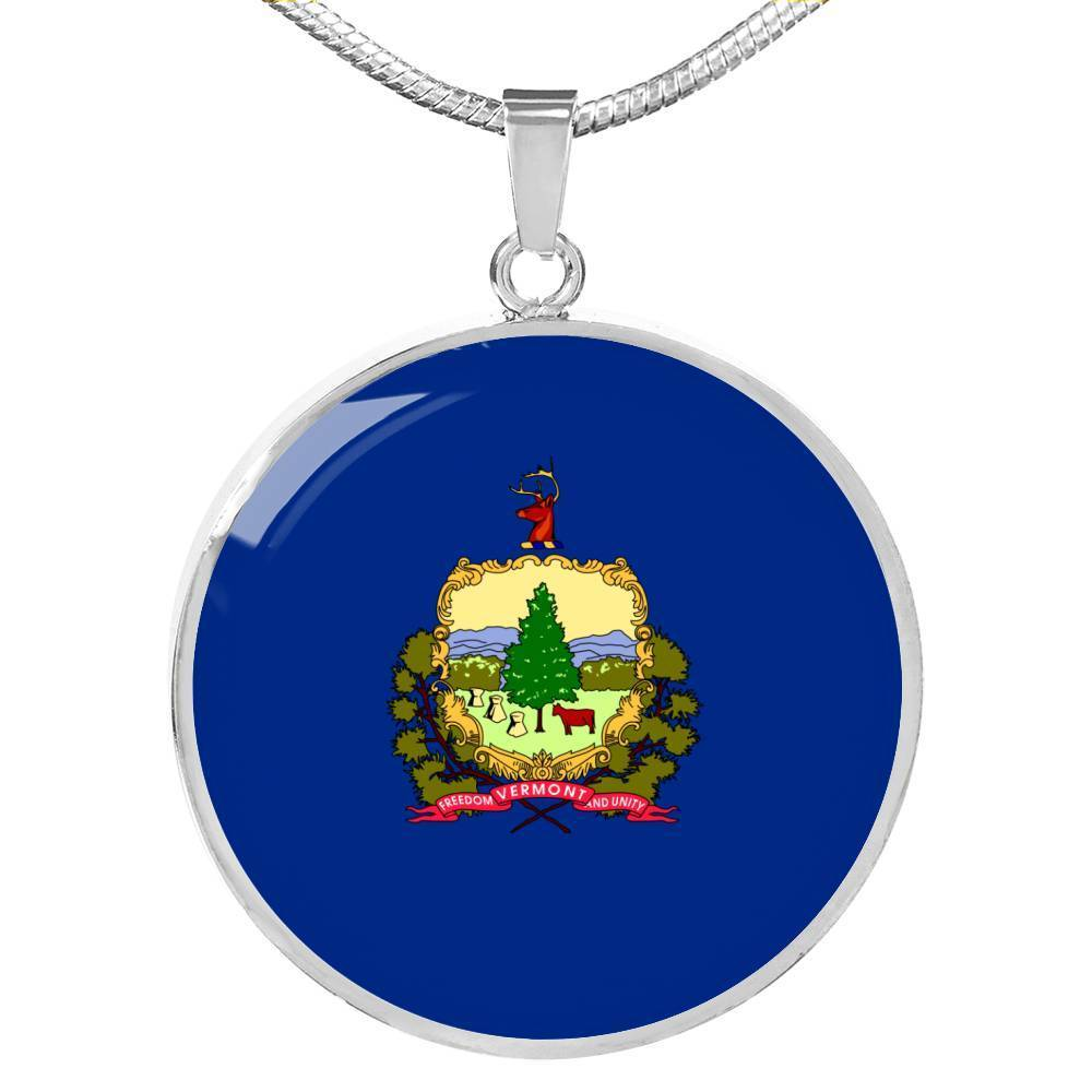 "Vermont State Flag Necklace Stainless Steel or 18k Gold Circle Pendant 18-22"" - Express Your Love Gifts"