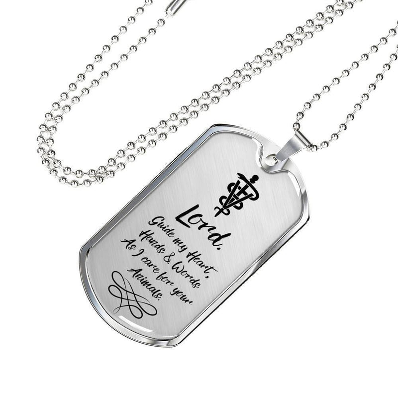 Express Your Love Gifts Veterinarians Prayer Caduceus Medical Jewelry Dog Tag Necklace Pendant Military Chain (Silver) / No