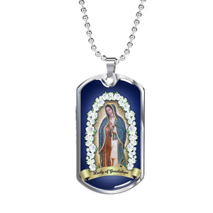 "Express Your Love Gifts Virgin Mary Catholic Necklace Lady of Guadalupe Stainless Steel or 18k Gold Luxury Dog Tag w 24"" Ball Chain"
