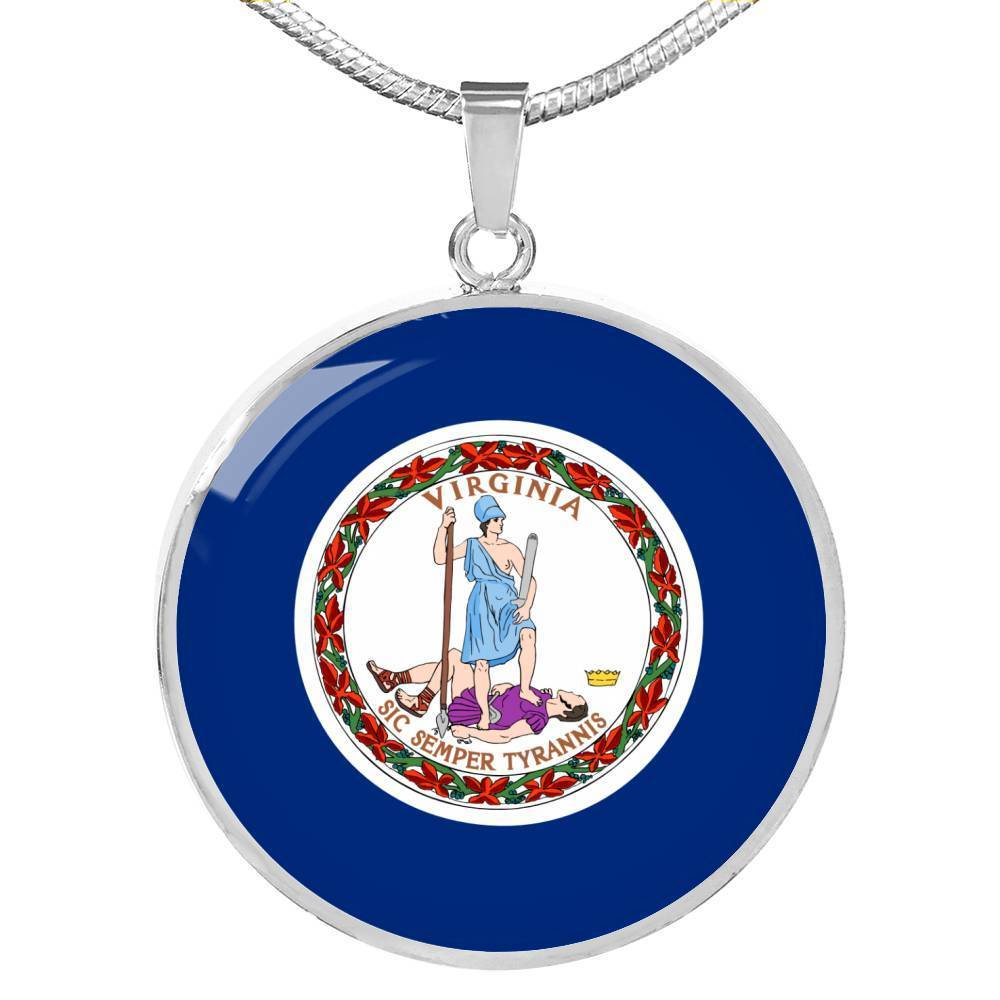 "Virginia State Flag Necklace Stainless Steel or 18k Gold Circle Pendant 18-22"" - Express Your Love Gifts"