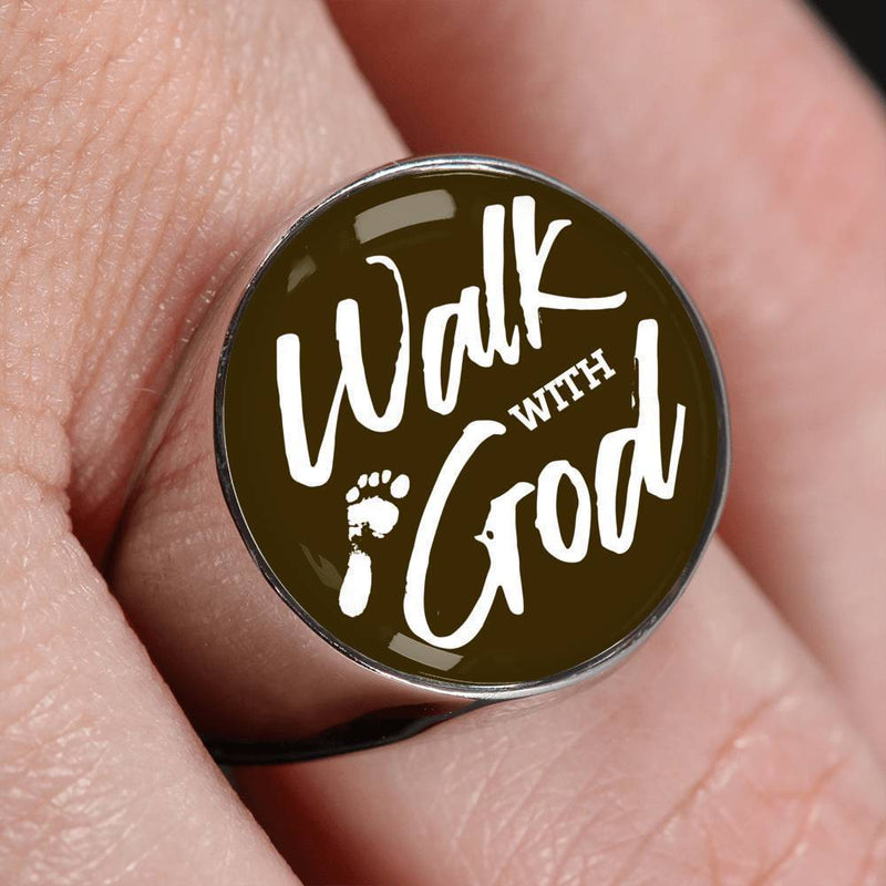 Walk With God Scripture Handmade Stainless Steel or 18k Gold Finish Circle Signet Ring Express Your Love Gifts