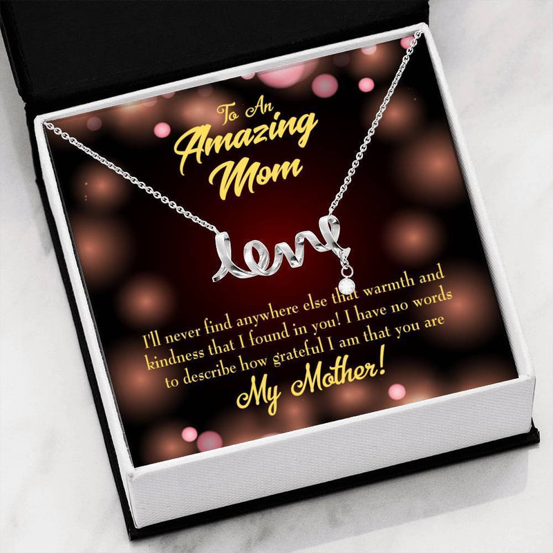 Warmth and Kindness Meaningful Mom Gift, Scripted Necklace Stainless Steel, Mother's Day Jewelry Express Your Love Gifts