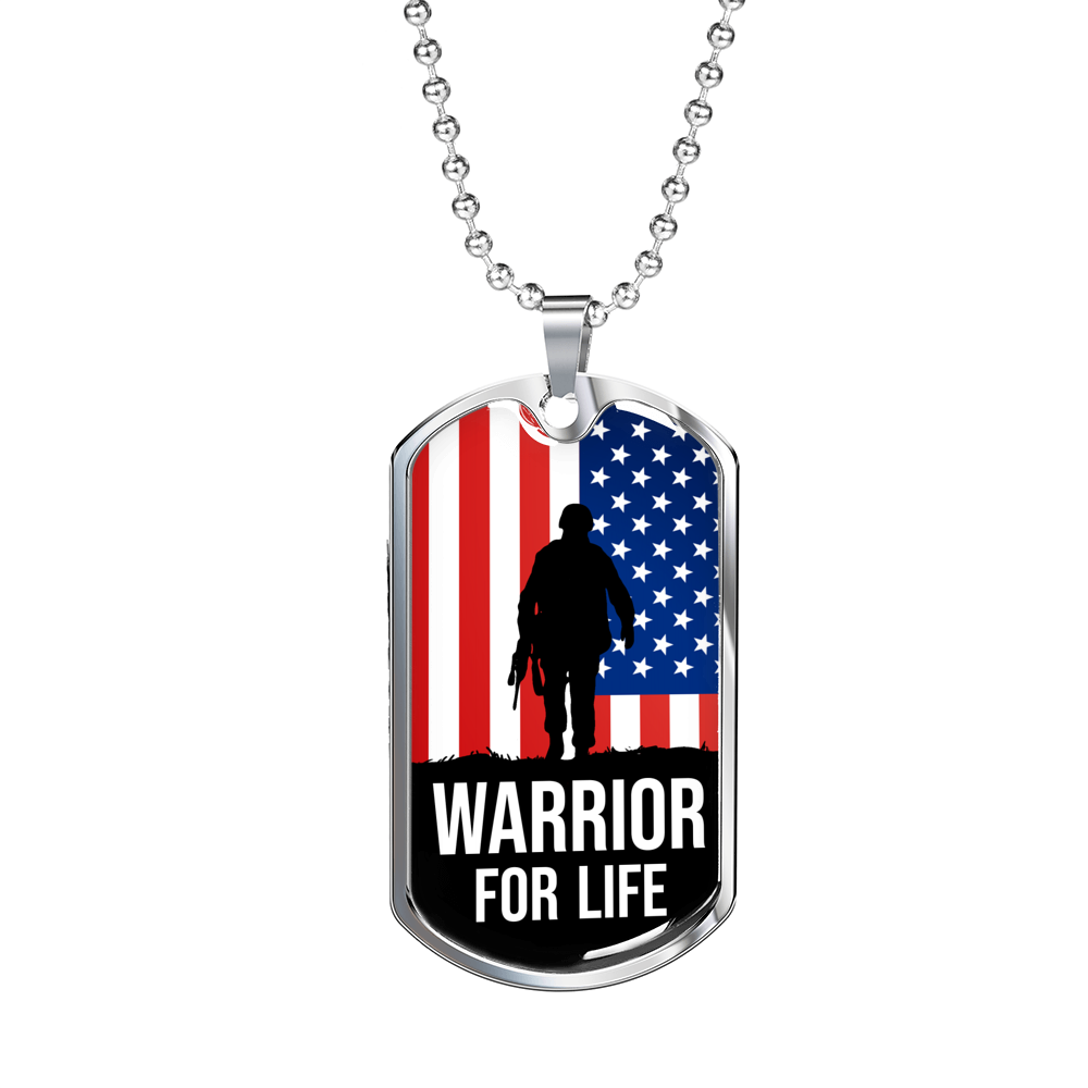 Express Your Love Gifts Warrior For Life American Flag Patriotic Soldier Military Dog Tag Necklace Military Chain (Silver) / No