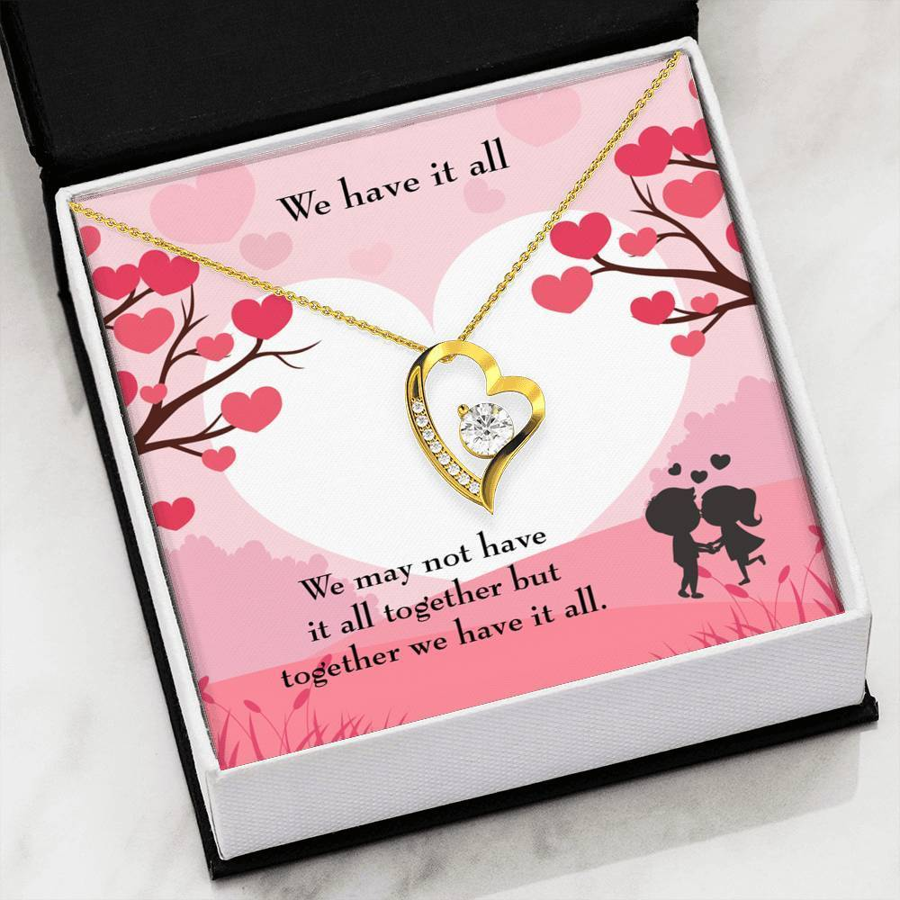 "We Have it All CZ Love Heart Pendant 18k Gold or Stainless Steel 18"" Necklace - Express Your Love Gifts"