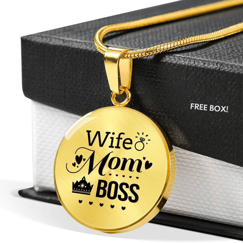 Express Your Love Gifts Wife. Mom. Boss Circle Pendant Necklace Luxury Necklace (Gold) / No
