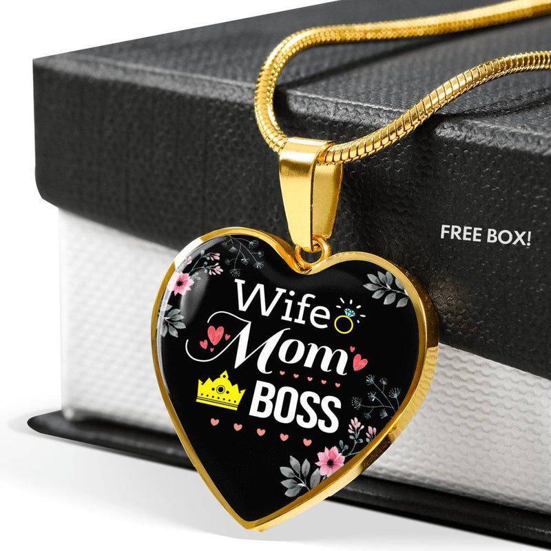 Express Your Love Gifts Wife. Mom. Boss Heart Pendant Necklace