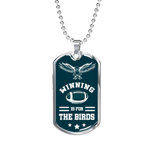 Express Your Love Gifts Winning Is For The Birds Philadelphia Fan Gift Dog Tag Military Chain (Silver) / No