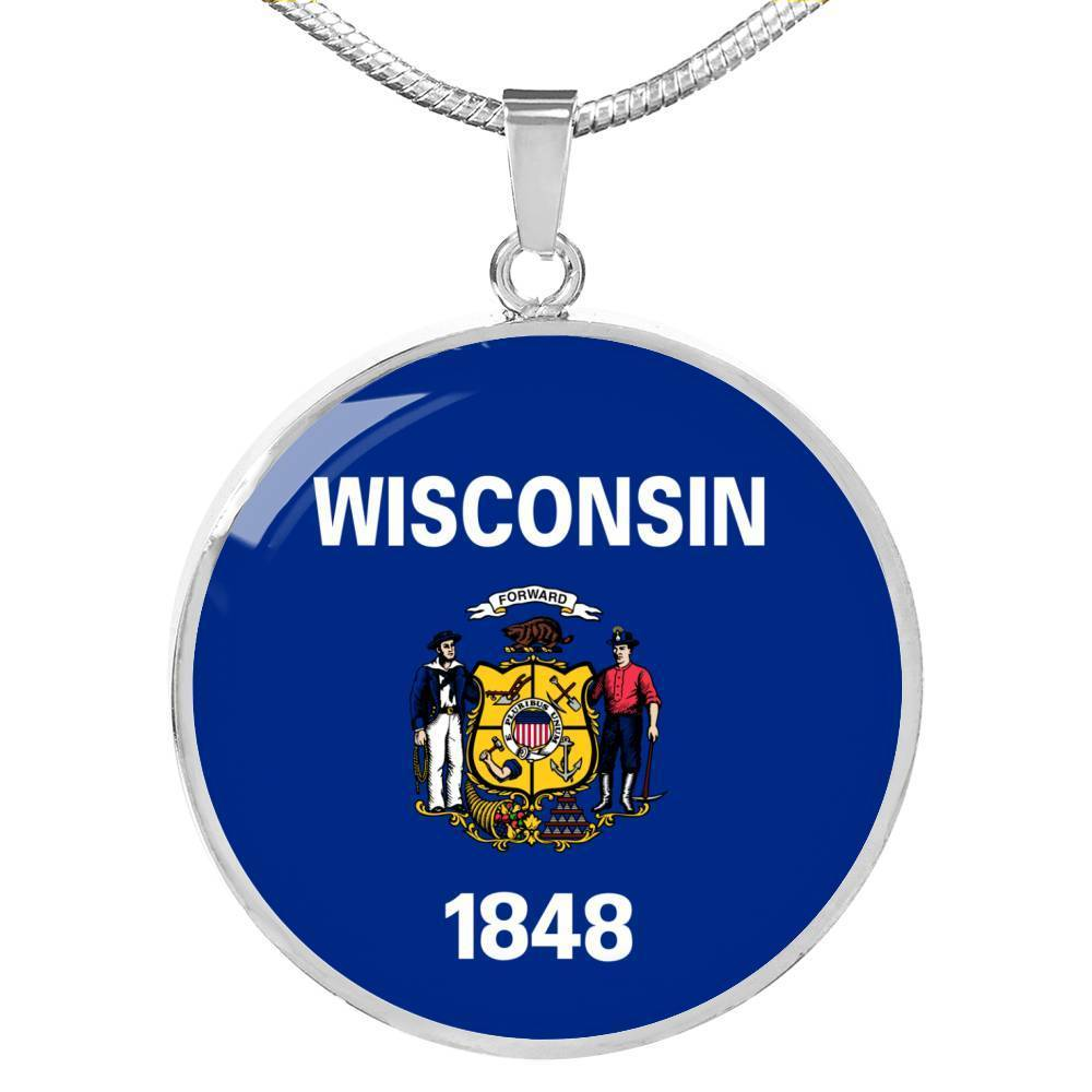"Wisconsin State Flag Necklace Stainless Steel or 18k Gold Circle Pendant 18-22"" - Express Your Love Gifts"