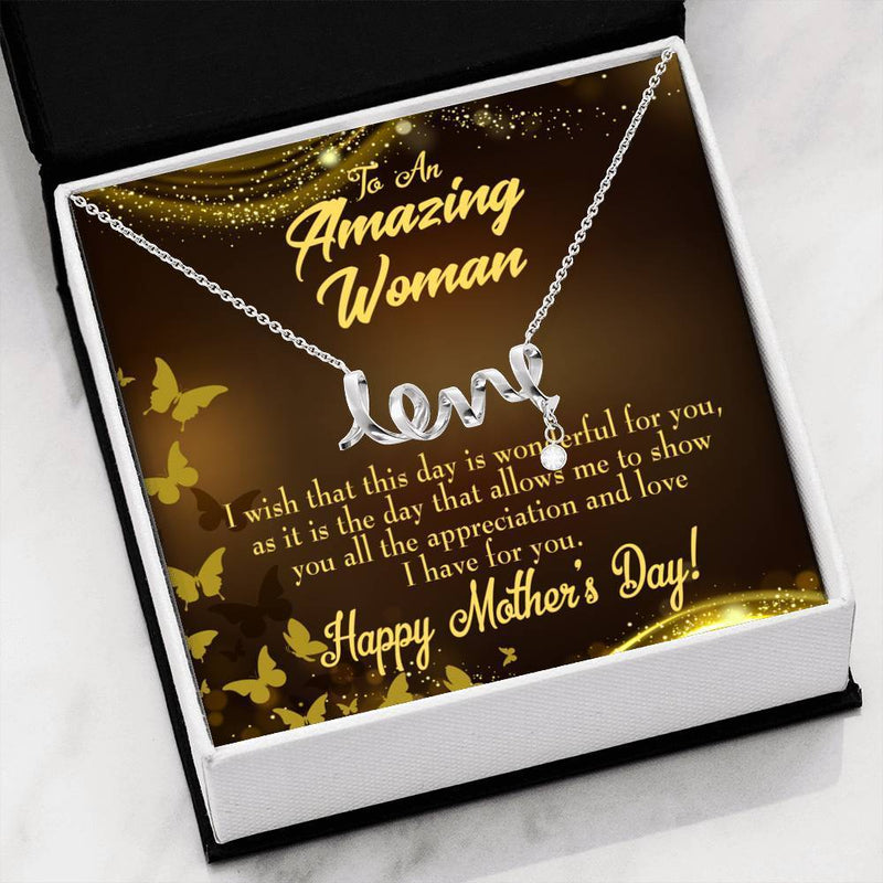 Wish This Day Meaningful Mom Gift, Scripted Necklace Stainless Steel, Mother's Day Jewelry Express Your Love Gifts