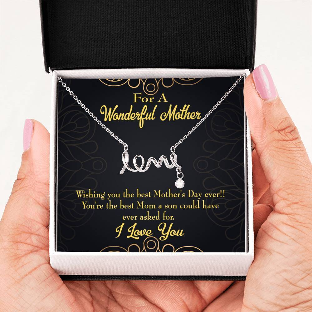 Wishing You Meaningful Mom Gift, Scripted Necklace Stainless Steel, Mother's Day Jewelry Express Your Love Gifts