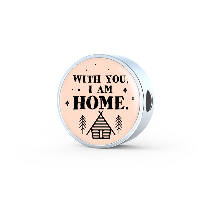 With You I Am Home Handmade Stainless Steel Circle Charm Bracelet