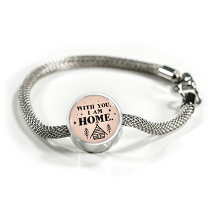 Express Your Love Gifts With You I Am Home - Handmade Stainless Steel Circular Charm Bracelet S/M Bracelet & Charm