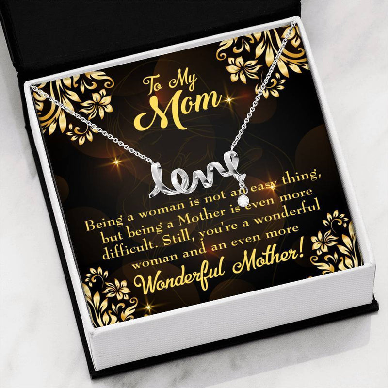 WOnderful Woman Mother Meaningful Mom Gift, Scripted Necklace Stainless Steel, Mother's Day Jewelry Express Your Love Gifts