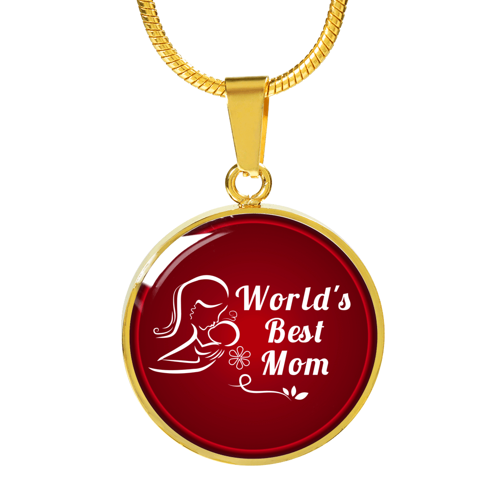 "World's Best Mom Circle Pendant Necklace Stainless Steel or 18k Gold 18""22"" - Express Your Love Gifts"