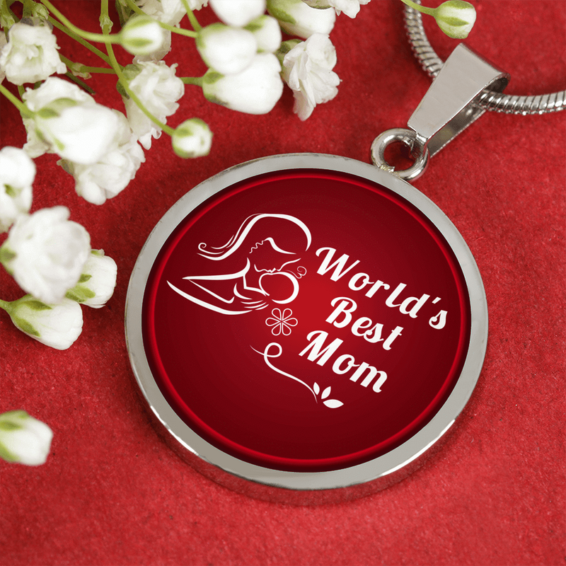 "World's Best Mom Stainless Steel Circle Pendant Necklace Stainless Steel or 18k Gold Finish Adjustable 18""-22"" or Bracelet Bangle Express Your Love Gifts"