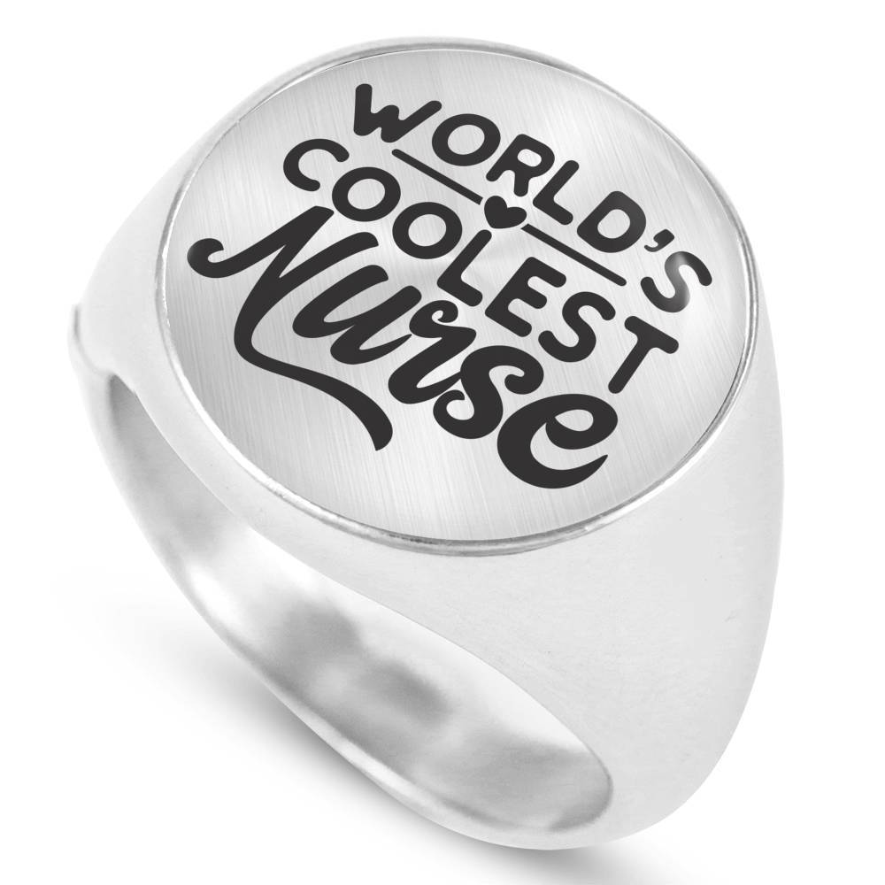 World's Coolest Nurse Handmade Stainless Steel Circle Signet Ring Express Your Love Gifts