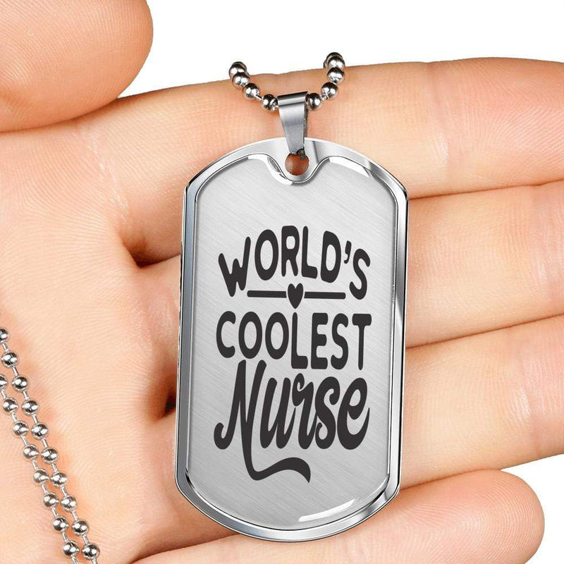"World's Coolest Nurse Handmade Stainless Steel Necklace Stainless Steel or 18k Gold Dog Tag w 24"" Ball Chain Express Your Love Gifts"
