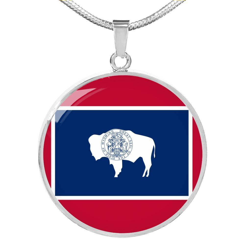 "Wyoming State Flag Necklace Stainless Steel or 18k Gold Circle Pendant 18-22"" - Express Your Love Gifts"