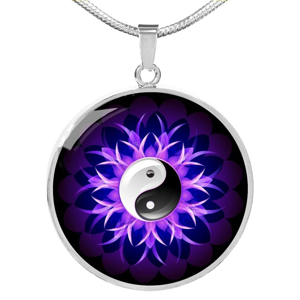 "Yin Yang Charm Purple Lotus Circle Pendant Necklace Stainless Steel or 18k Gold Finish 18""-22"" Express Your Love Gifts"