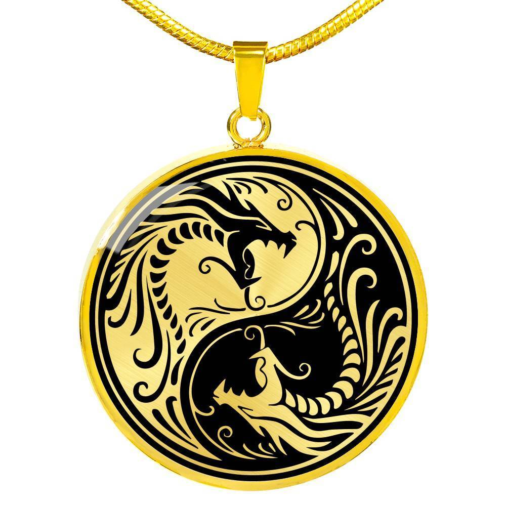 "Yin Yang Necklace Dragon Zen Pendant Stainless Steel or 18k Gold 18-22""Tao Symbol - Express Your Love Gifts"