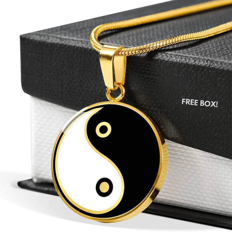 Express Your Love Gifts Yin Yang Gold Circular Necklace Pendant