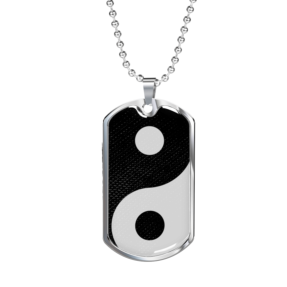 "Yin Yang Necklace Balance Pendant Stainless Steel or 18k Gold Dog Tag w 24"" Chain - Express Your Love Gifts"