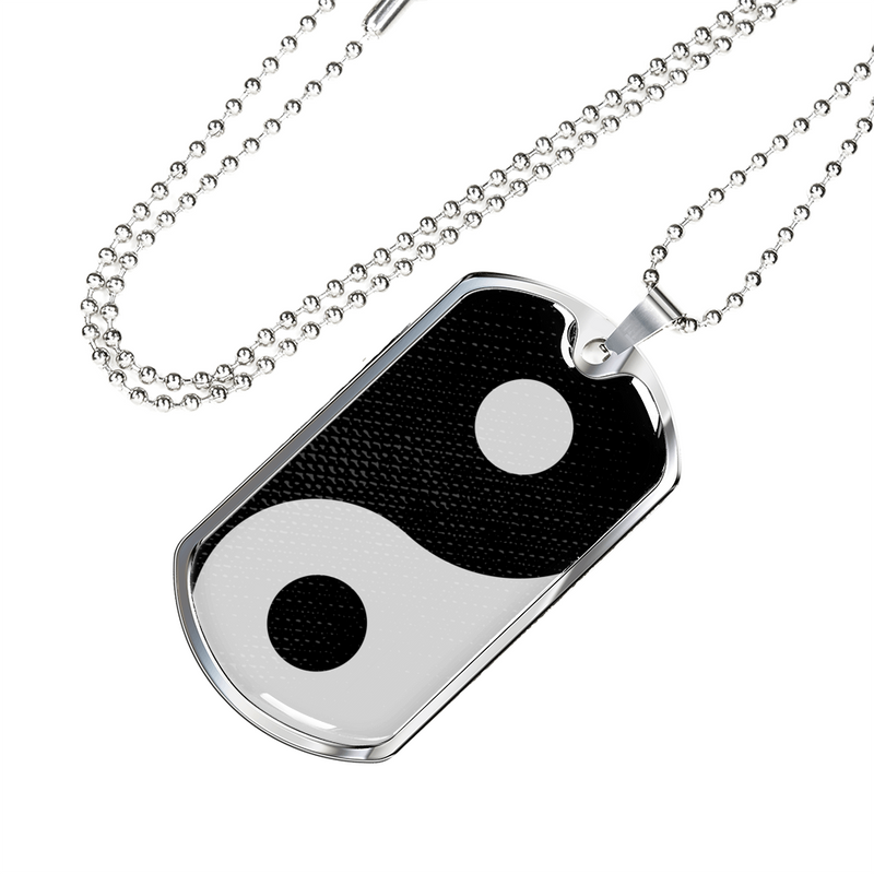 "Express Your Love Gifts Yin Yang Handmade Pendant Stainless Steel or 18k Gold Military Dog Tag Necklace w 24"" Ball Chain"