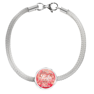 You are Forever in My Life and Forever In My Heart Handmade Stainless Steel Circle Charm Bracelet Express Your Love Gifts