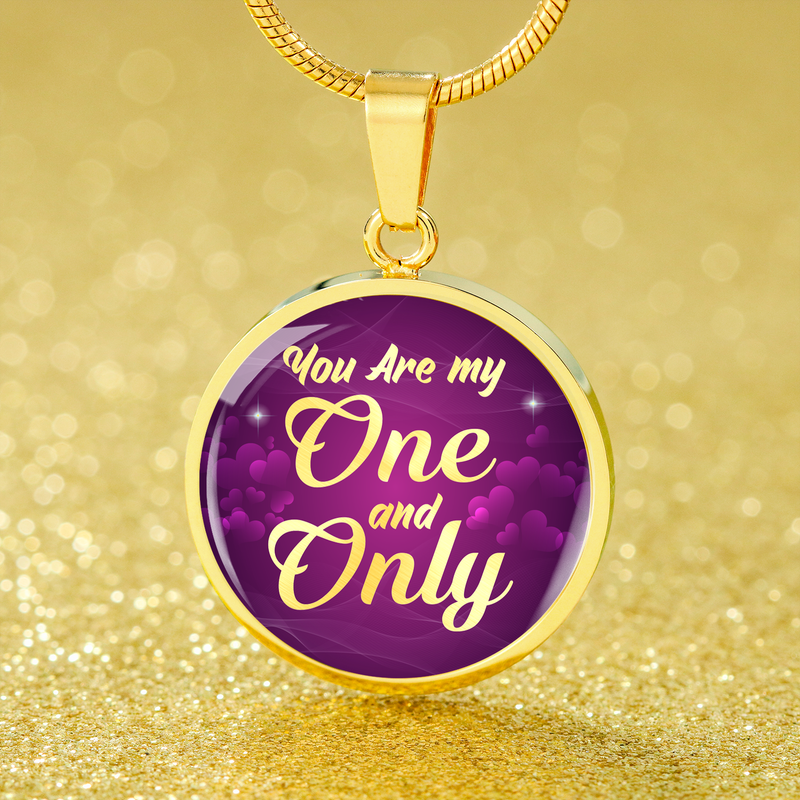 Express Your Love Gifts You Are My One and Only Circle Necklace Love Pendant Luxury Necklace (Gold) / No