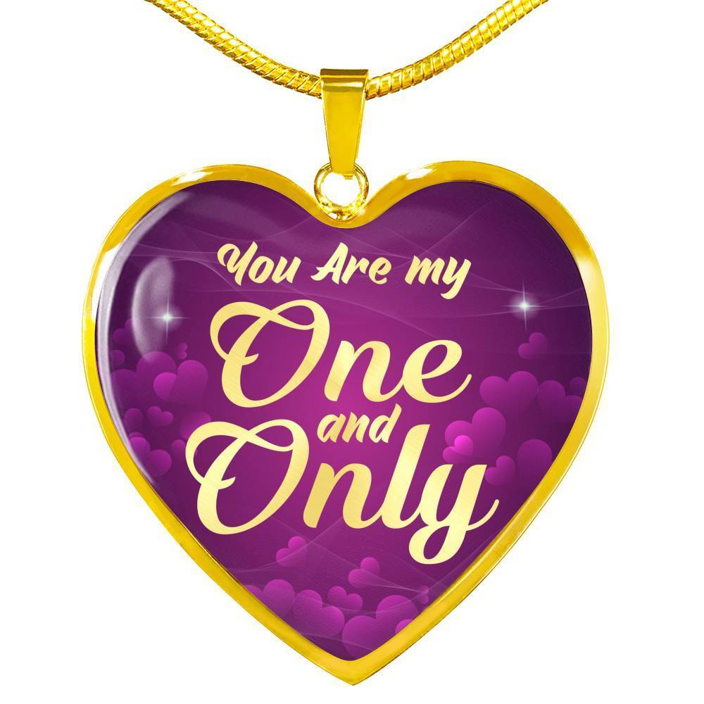 "You Are My One and Only 18k Gold Heart Pendant Necklace 18""-22"" - Express Your Love Gifts"