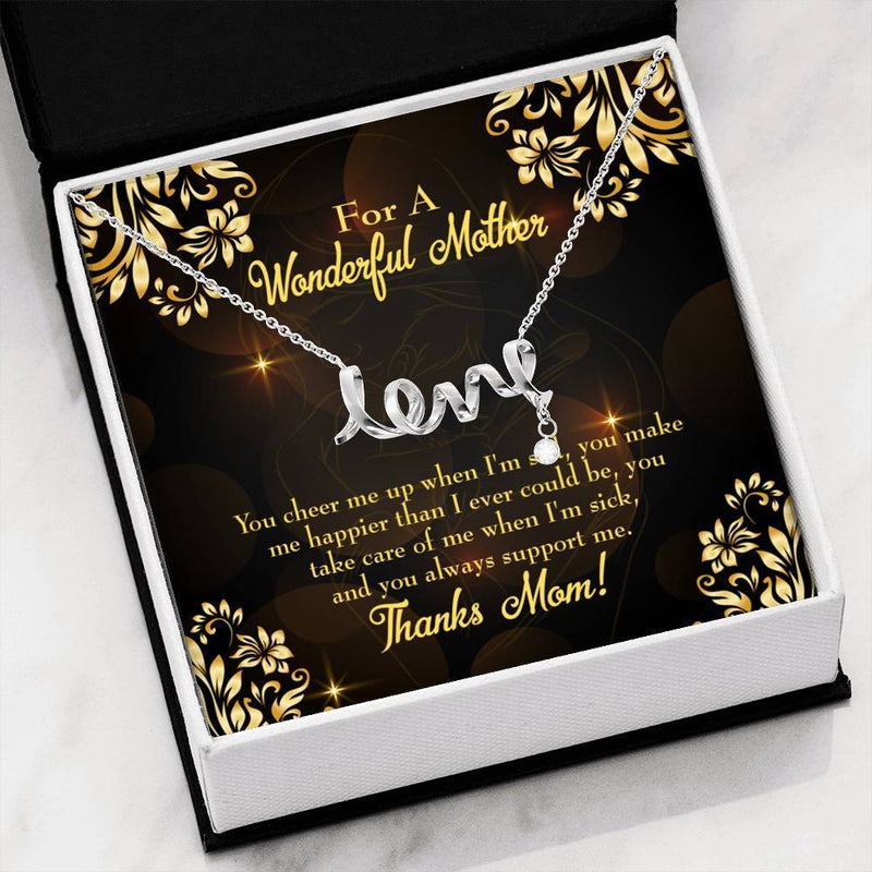 You Cheer Me Meaningful Mom Gift, Scripted Necklace Stainless Steel, Mother's Day Jewelry Express Your Love Gifts