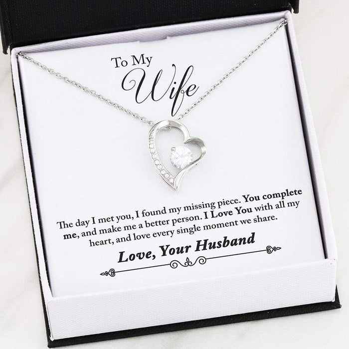 "To My Wife You Complete Me Forever Pendant 18k Gold Finish or Stainless Steel 18"" Necklace"