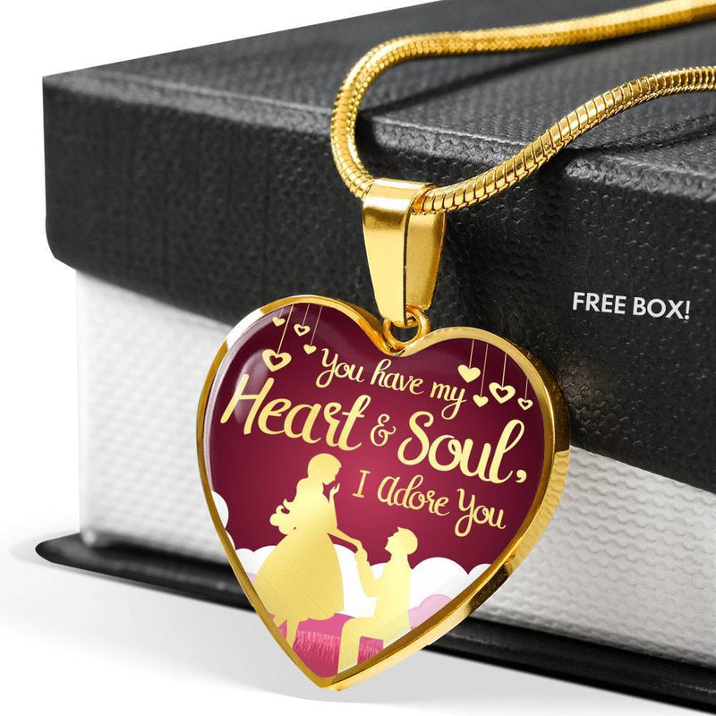 You Have My Heart and Soul I Adore You Necklace Stainless Steel or 18k Gold Heart Pendant 18-22'' - Express Your Love Gifts