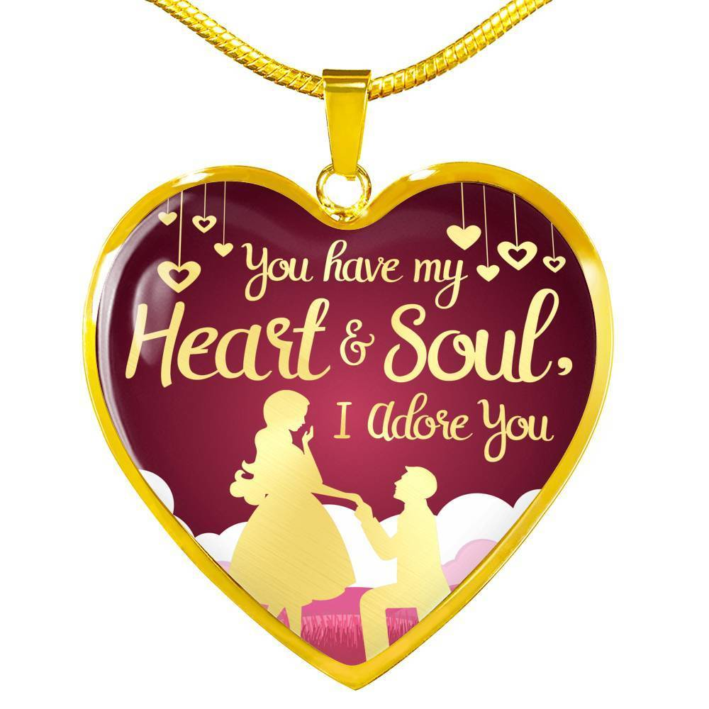 Express Your Love Gifts You Have My Heart and Soul, I Adore You Heart Pendant Love Necklace Luxury Necklace (Gold) / No