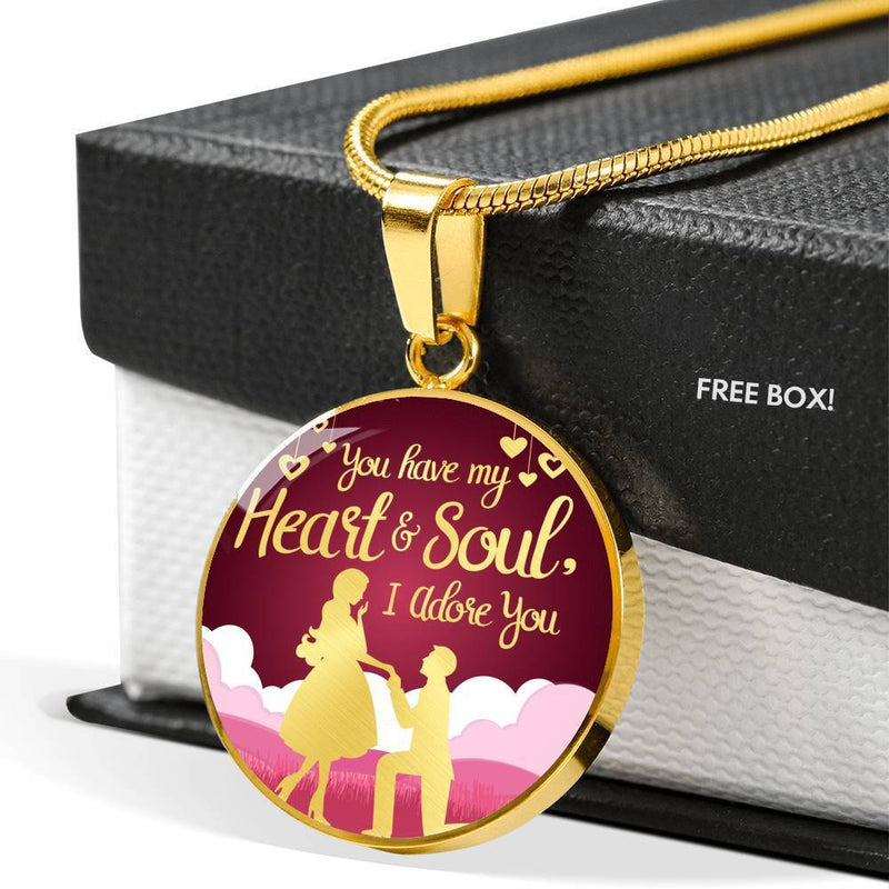 "You Have My Heart and Soul I Adore You Truly Circle Pendant Necklace 18k Gold 18-22"" - Express Your Love Gifts"