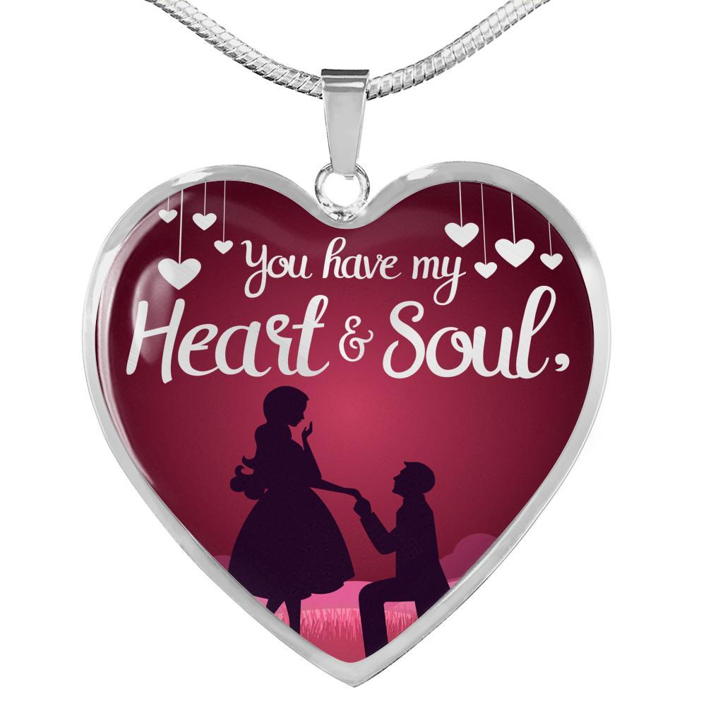 Express Your Love Gifts You have My Heart and Soul Love Jewelry Heart Pendant Necklace