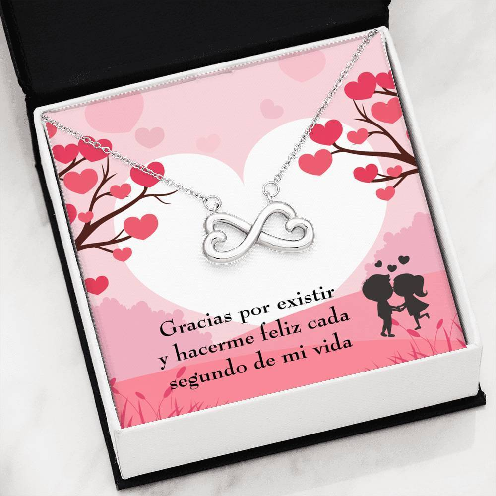 You Make Me Happy Spanish Infinity Pendant Necklace Message Card Express Your Love Gifts