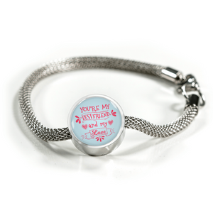 Express Your Love Gifts You're My Bestfriend and My Love- Handmade Stainless Steel -Circle Charm Bracelet S/M Bracelet & Charm / No