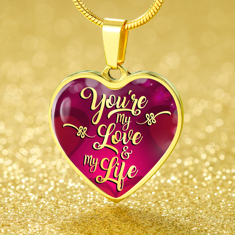 Express Your Love Gifts You're My Love & My Life Heart Pendant Love Necklace Luxury Necklace (Gold) / No
