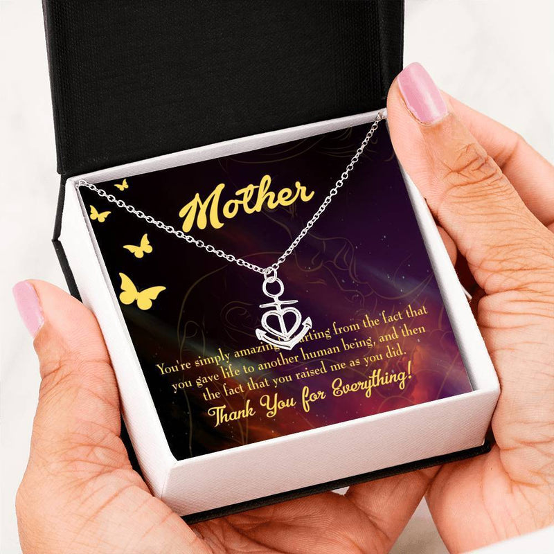 You're Simply Amazing Anchor Pendant Stainless Steel, Mothers Day Birthday Jewelry Gift Express Your Love Gifts