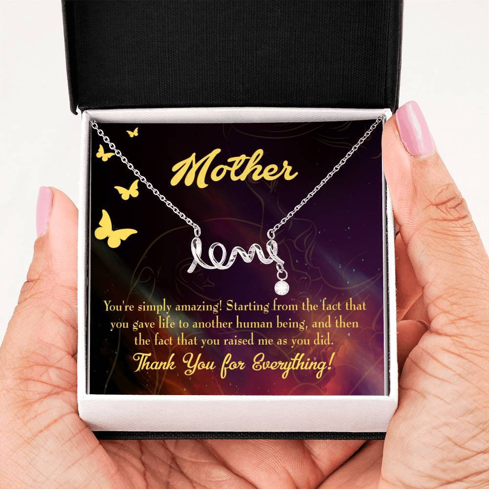 You're Simply Amazing Meaningful Mom Gift, Scripted Necklace Stainless Steel, Mother's Day Jewelry Express Your Love Gifts