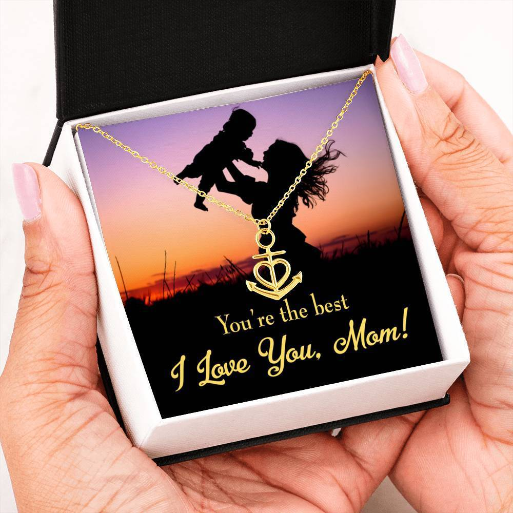 You're the Best English Anchor Pendant Stainless Steel, Mothers Day Birthday Jewelry Gift Express Your Love Gifts