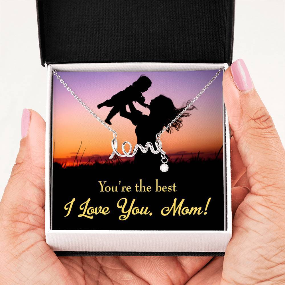 You're the Best English Meaningful Mom Gift, Scripted Necklace Stainless Steel, Mother's Day Jewelry Express Your Love Gifts