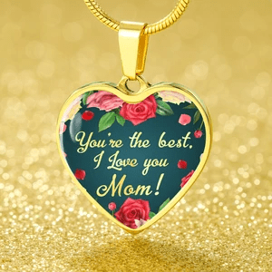Express Your Love Gifts You're the Best, I Love You Mom Heart Pendant Necklace Luxury Necklace (Gold) / No