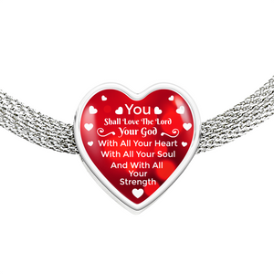 Express Your Love Gifts You Shall Love The Lord Your God-Handmade Stainless Steel Heart Charm Bracelet