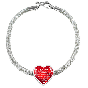 Express Your Love Gifts You Shall Love The Lord Your God-Handmade Stainless Steel Heart Charm Bracelet S/M Bracelet & Charm / No