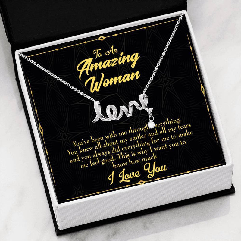 You With Me Meaningful Mom Gift, Scripted Necklace Stainless Steel, Mother's Day Jewelry Express Your Love Gifts