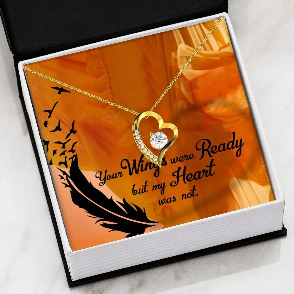 "Your Wings Were Ready CZ Love Heart Pendant 18k Gold Stainless Steel 18"" Necklace - Express Your Love Gifts"